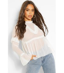 dobby mesh ruffle detail blouse, ivory