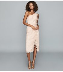 reiss mena - one-shoulder lace dress in nude, womens, size 14