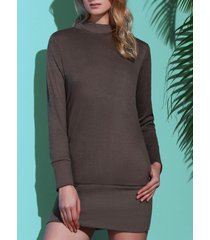 brief pure color turtleneck long sleeve dress for women