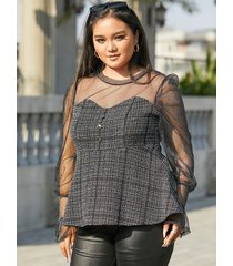 yoins plus talla malla patchwork brilho blusa de manga larga