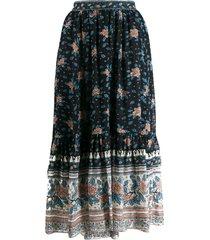 ulla johnson floral print gypsy skirt - black