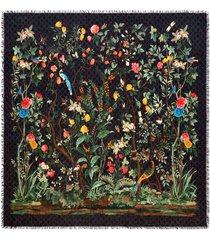gucci gucci tian print modal silk shawl