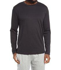 men's nordstrom long sleeve pima cotton lounge t-shirt, size medium - black