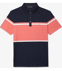 mk polo in cotone color-block - drk midnight - michael kors