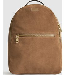reiss grayson - suede backpack in camel, mens