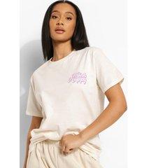 oversized t-shirt met borstopdruk, ecru