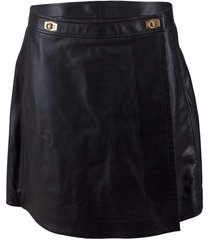 black leather skort