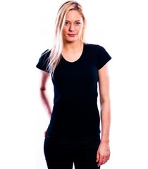 rj bodywear ladies t-shirt v-hals black