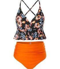 plus size floral print flounce high waist tankini swimsuit