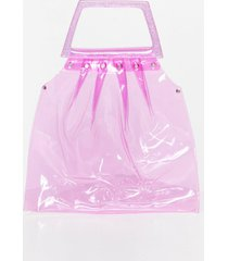 womens want loud and clear transparent tote bag - pink