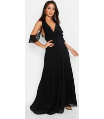 chiffon frill cold shoulder wrap maxi dress, black