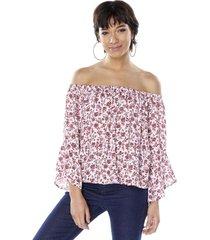 blusa print off shoulder manga 3-4 rosa mujer corona