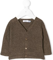 knot raglan sleeve basic cardigan - brown