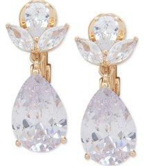 anne klein gold-tone crystal e-z comfort clip-on earrings