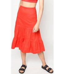 nicole miller women's cotton metal midi skirt