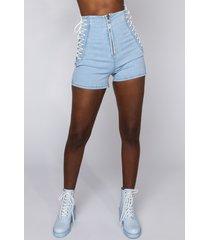 akira margot lace up denim shorts