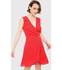 vestido ash liso cruzado rojo - calce regular