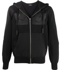 diesel k-worth panelled zipped hoodie - black