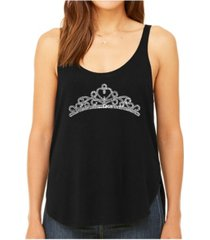 la pop art women's premium word art flowy tank top- princess tiara