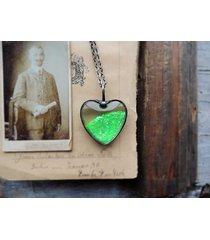 naszyjnik zielony brokat