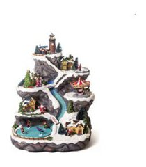 cenário natal com movimento iluminaçáo montanha miniaturas