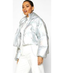 cropped holographic puffer jacket, silver