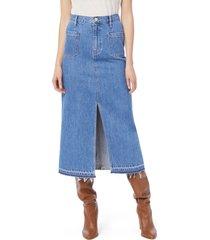 women's frame le bardot denim midi skirt, size 30 - blue