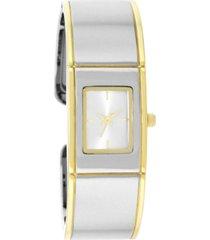 charter club women's two-tone cuff bracelet watch 18mm, created for macy's