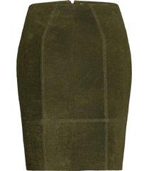 vifaith hw suede slit skirt kort kjol grön vila