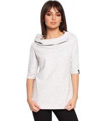 sweater be b026 korte mouwen blouse met capuchon - stracciatella