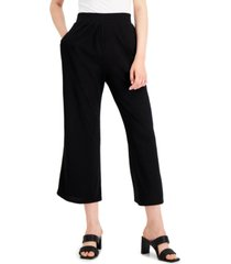 alfani solid pull-on cropped flare-leg pants, created for macy's