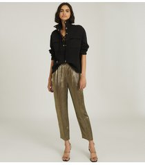 reiss camille - shimmer tapered trousers in gold, womens, size 14