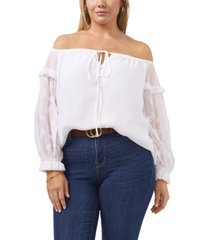 plus size long sleeve off shoulder embroidered yoryu blouse