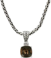 "effy smoky quartz (4-1/2 ct. t.w.) & diamond accent 18"" pendant necklace in sterling silver"