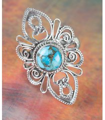 charming blue copper turquoise gemstone silver ring all size bjr-450-bct-b