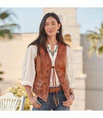lorena leather vest - petites