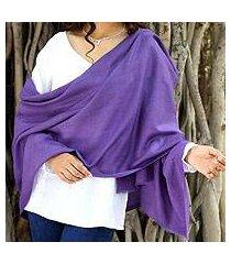 wool shawl, 'kashmiri diamonds in lavender' (india)