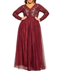 plus size women's city chic rare beauty maxi dress, size x-small - red