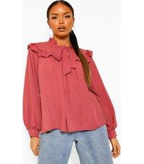 blouse met rucheskraag en strik, rose