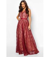 boutique lace plunge maxi bridesmaid dress, berry