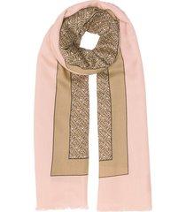 burberry monogram print lightweight cashmere scarf - pink