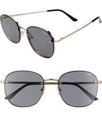 women's quay australia jezabell 53mm rimless aviator sunglasses - gold/ smoke