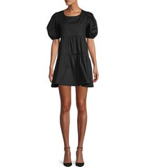 love ady women's puffed-sleeve stretch-cotton mini tiered dress - brown - size m