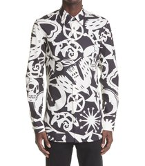 alexander mcqueen papercut print long sleeve button-up cotton shirt, size 15.5 in black/white at nordstrom