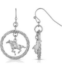 2028 silver-tone suspended horse drop earrings
