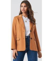 na-kd classic straight fit blazer - brown,orange