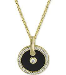 "argento vivo cubic zirconia & black enamel circle 18"" pendant necklace in 18k gold-plated sterling silver"