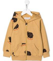 mini rodini guinea pig printed hoodie - neutrals