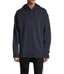 helmut lang men's laced cotton hoodie - blue - size xs