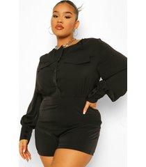 plus oversized romper blouse, black